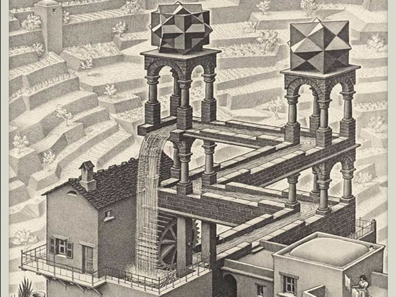Waterfall, litografia d'Escher
